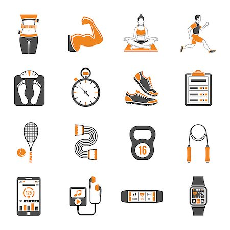 Fitness, Gym, Health two color Icons Set with Yoga, Runner, Scales and Gadgets. Isolated vector illustration Stock Photo - Budget Royalty-Free & Subscription, Code: 400-08834309
