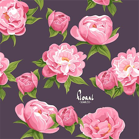 peony illustrations - Bright beautiful floral seamless background Stock Photo - Budget Royalty-Free & Subscription, Code: 400-08835470