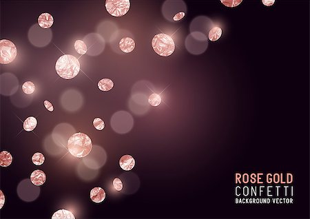 party paper falling - Large Rose Gold glitter Confetti party background. Vector illustration Stock Photo - Budget Royalty-Free & Subscription, Code: 400-08835854