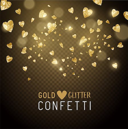 party paper falling - Luxury falling shiny and gold metallic heart shaped confetti. Vector illustration. Stock Photo - Budget Royalty-Free & Subscription, Code: 400-08835851
