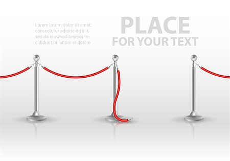 queue club - Stand rope barriers open isolated on white background. vector illustration Stock Photo - Budget Royalty-Free & Subscription, Code: 400-08836164