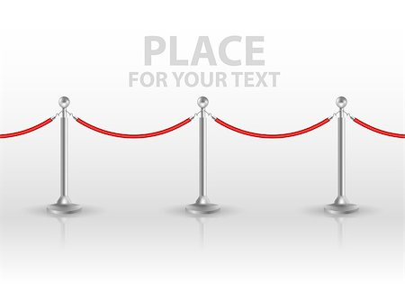queue club - Stand rope barriers isolated on white background. vector illustration Stock Photo - Budget Royalty-Free & Subscription, Code: 400-08836163