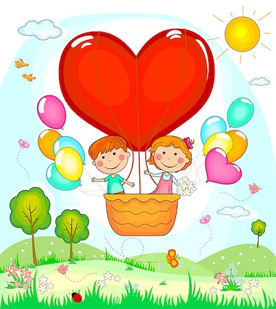 flying heart girl - Boy and girl on the fly in a balloon. Stock Photo - Budget Royalty-Free & Subscription, Code: 400-08836407