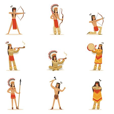 Native American Tribe Members In Traditional Indian Clothing With Weapons And Other Cultural Objects Set Of Cartoon Characters. Vector Illustrations With Classic North America Indians In Simple Colorful Style. Stock Photo - Budget Royalty-Free & Subscription, Code: 400-08836991