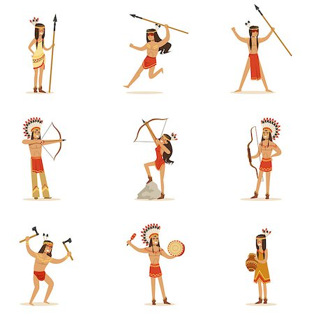 Native American Tribe Members In Traditional Indian Clothing With Weapons And Other Cultural Objects Series Of Cartoon Characters. Vector Illustrations With Classic North America Indians In Simple Colorful Style. Stock Photo - Budget Royalty-Free & Subscription, Code: 400-08836992