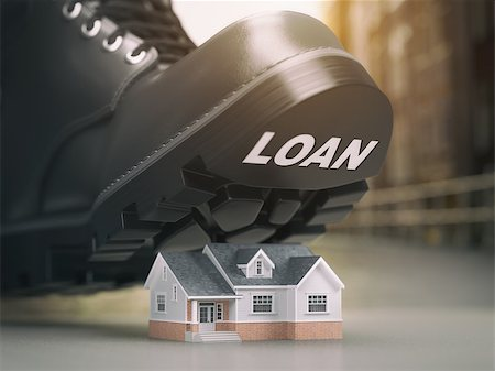 Mortgage house loan crisis concept. Foreclosure and repossession problems. House and boot with loan. 3d illustration Stock Photo - Budget Royalty-Free & Subscription, Code: 400-08862192
