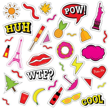 Set of Fashion Patch Badges with Lips, Heart and Other Elements. Vector Illustration. Stock Photo - Budget Royalty-Free & Subscription, Code: 400-08893000