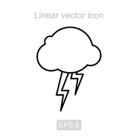 Icon of the storm cloud in a linear style Stock Photo - Budget Royalty-Free & Subscription, Code: 400-08929985