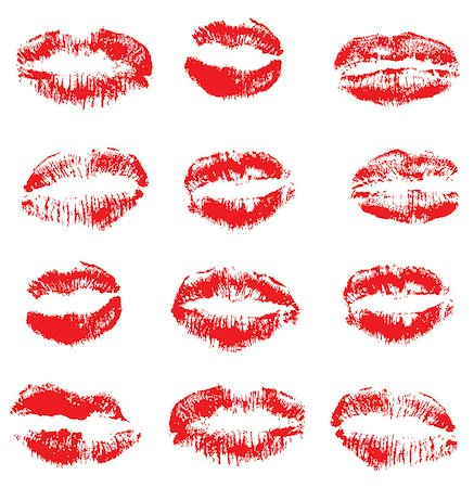 vector illustration of a set of lipstick kisses. Colorful imprints of real red lipstick textures. Can be used for design of fabric print; wrapping paper or romantic greeting cards. Stock Photo - Budget Royalty-Free & Subscription, Code: 400-08935645