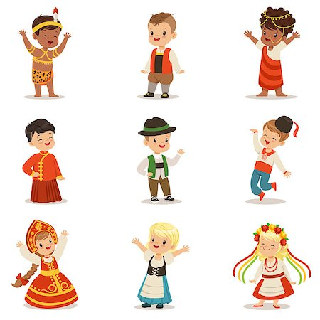 Kids Wearing National Costumes Of Different Countries Set Of Cute Boys And Girls In Clothes Representing Nationality. Small Children In Cultural Disguise Series Of Cartoon Vector Illustrations Stock Photo - Budget Royalty-Free & Subscription, Code: 400-08935916
