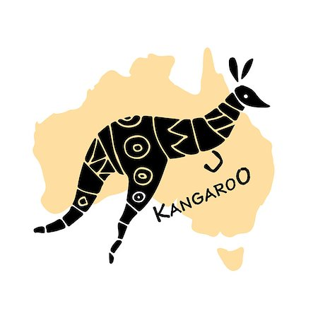 Kangaroo, sketch for your design. Vector illustration Stock Photo - Budget Royalty-Free & Subscription, Code: 400-08937045