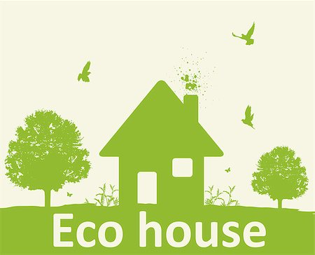 Landscape with green tree, birds and house. Eco-friendly house concept. Stock Photo - Budget Royalty-Free & Subscription, Code: 400-08938725