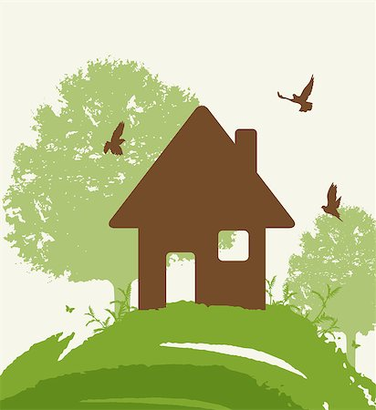Background with green tree, birds and house. Eco-friendly house concept. Stock Photo - Budget Royalty-Free & Subscription, Code: 400-08938723