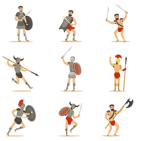 Gladiators Of Roman Empire Era In Historical Armor With Swords And Other Weapons Fighting On Arena Set Of Cartoon Characters. Warriors Of Rome And Sparta In Traditional Ancient Army Outfits. Stock Photo - Budget Royalty-Free & Subscription, Code: 400-08931844