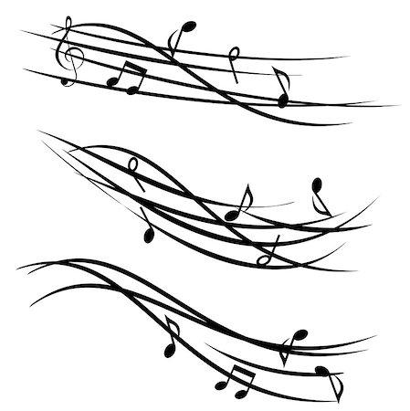 swirl graphic score - Ornamental stave with music notes Stock Photo - Budget Royalty-Free & Subscription, Code: 400-08965771