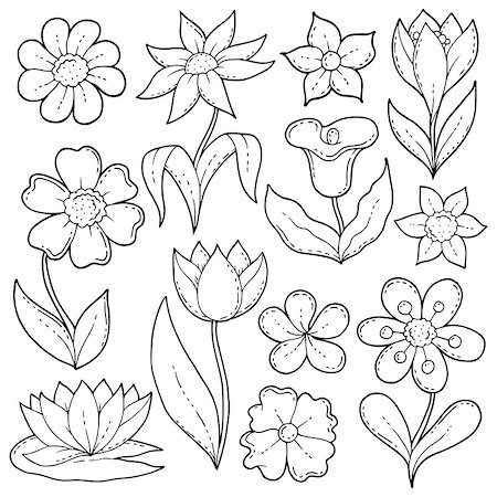 flower drawings black - Flower drawings thematic set 1 - eps10 vector illustration. Stock Photo - Budget Royalty-Free & Subscription, Code: 400-08967065