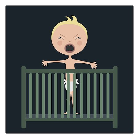 Cartoon baby screaming in child bed, vector Stock Photo - Budget Royalty-Free & Subscription, Code: 400-08974183