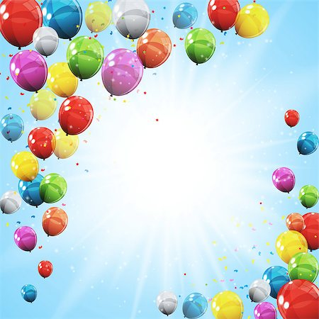 Group of Colour Glossy Helium Balloons Isolated on Sky Natural Background. Vector Illustration EPS10 Stock Photo - Budget Royalty-Free & Subscription, Code: 400-08978459