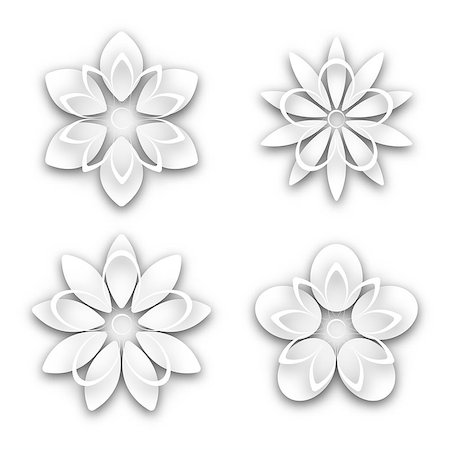 Set of white paper flower buds different shapes, isolated on white background, vector illustration. Stock Photo - Budget Royalty-Free & Subscription, Code: 400-08979154