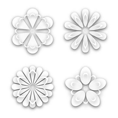 Set of white paper flower buds different shapes, isolated on white background, vector illustration. Stock Photo - Budget Royalty-Free & Subscription, Code: 400-08979152