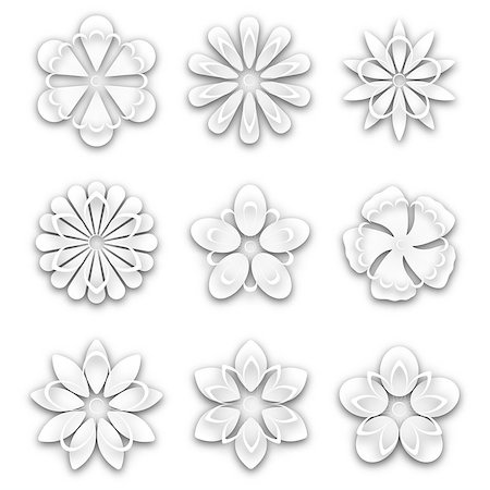 Set of white paper flower buds different shapes, isolated on white background, vector illustration. Stock Photo - Budget Royalty-Free & Subscription, Code: 400-08980699