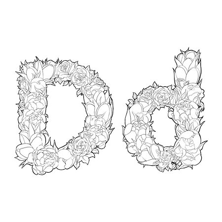 Black and white alphabet with flowers. The letter D Stock Photo - Budget Royalty-Free & Subscription, Code: 400-08998249