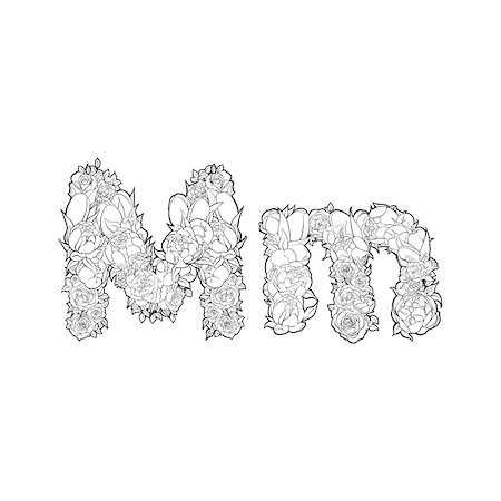 Black and white alphabet with flowers. The letter M Stock Photo - Budget Royalty-Free & Subscription, Code: 400-08998257