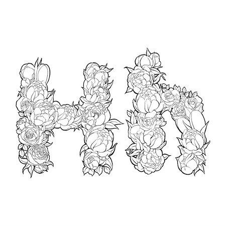 Black and white alphabet with flowers. The letter H Stock Photo - Budget Royalty-Free & Subscription, Code: 400-08998252