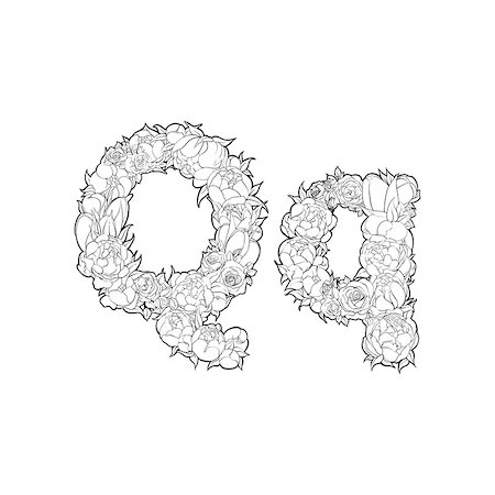Black and white alphabet with flowers. The letter Q Stock Photo - Budget Royalty-Free & Subscription, Code: 400-08998261