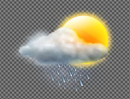 Vector illustration of cool single weather icon with sun, raincloud and raindrops isolated on transparent background Stock Photo - Budget Royalty-Free & Subscription, Code: 400-08999666