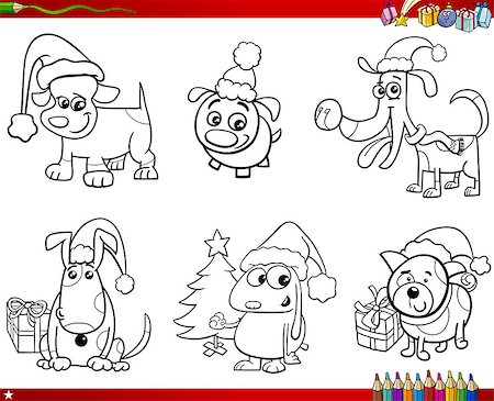 Coloring Book Cartoon Illustration of Black and White Set of Dogs Animal Characters on Christmas Stock Photo - Budget Royalty-Free & Subscription, Code: 400-09001061