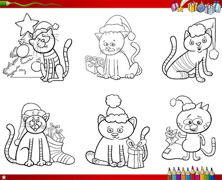 Coloring Book Cartoon Illustration of Black and White Set of Cats Animal Characters on Christmas Time Stock Photo - Budget Royalty-Free & Subscription, Code: 400-09001062