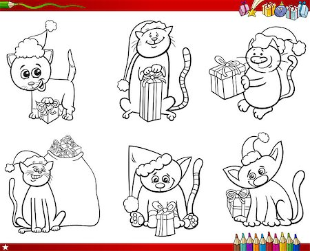 Coloring Book Cartoon Illustration of Black and White Set of Cat Characters on Christmas Time Stock Photo - Budget Royalty-Free & Subscription, Code: 400-09001636