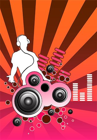 queue club - Design piece with a DJ and various musical elements including speakers. Stock Photo - Budget Royalty-Free & Subscription, Code: 400-03907994