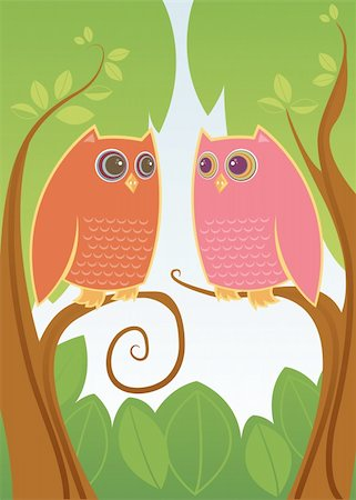 people mating - Two colorful owls in love - looking deeply into eachother's HUGE eyes Stock Photo - Budget Royalty-Free & Subscription, Code: 400-03909302