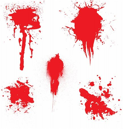 dripping blood backgrounds - Blood dribbling down the page with an illustration of five blood splats Stock Photo - Budget Royalty-Free & Subscription, Code: 400-03919904