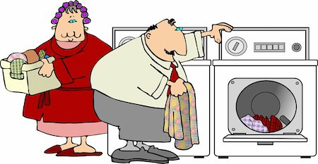 This illustration depicts a man and woman doing laundry. Stock Photo - Budget Royalty-Free & Subscription, Code: 400-03911338