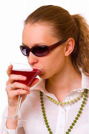 Girl with drink isolated on white background Stock Photo - Budget Royalty-Free & Subscription, Code: 400-03912087