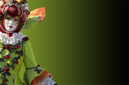 Model dressed in a costume with a decorated venetian mask. Copy space. Stock Photo - Budget Royalty-Free & Subscription, Code: 400-03912297