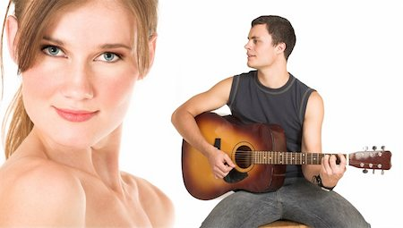 Close-up of the face of a beautiful brunette woman isolated on white. Young man in jeans and a t-shirt playing guitar and singing a song. Possibly lovers, implied nudity Stock Photo - Budget Royalty-Free & Subscription, Code: 400-03924806