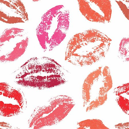 Seamless pattern, print of lips, vector illustration Stock Photo - Budget Royalty-Free & Subscription, Code: 400-03926323