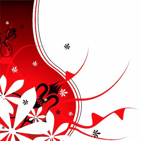 pretty backgrounds draw - Floral abstract background in red and black with plenty of copy space Stock Photo - Budget Royalty-Free & Subscription, Code: 400-03926776