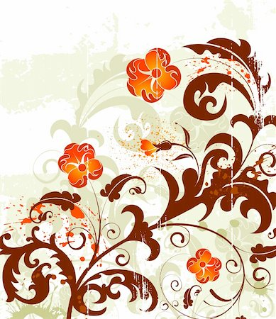 simsearch:400-03995944,k - Grunge paint flower background with bud, element for design, vector illustration Stock Photo - Budget Royalty-Free & Subscription, Code: 400-03927835