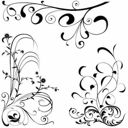 simsearch:400-03931671,k - Floral elements A - popular floral segments in vector illustration Stock Photo - Budget Royalty-Free & Subscription, Code: 400-03922076