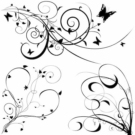 simsearch:400-03931671,k - Floral elements C - popular floral segments in vector illustration Stock Photo - Budget Royalty-Free & Subscription, Code: 400-03922077