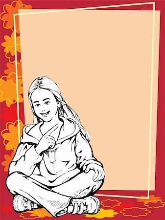 pretty backgrounds draw - Blond girl sitting and pointing at a blank poster Stock Photo - Budget Royalty-Free & Subscription, Code: 400-03922101