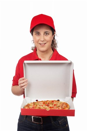 fat italian woman - A pizza delivery woman holding a hot pizza. Isolated on white Stock Photo - Budget Royalty-Free & Subscription, Code: 400-03939880