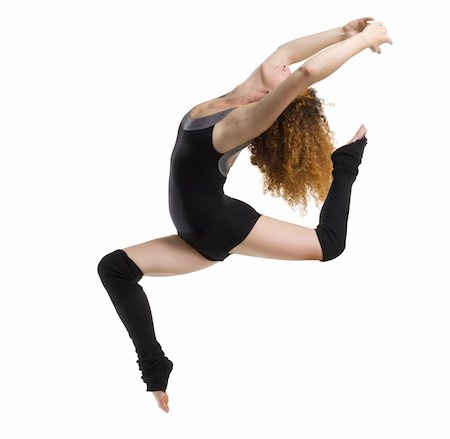 feet gymnast - a modern dancer with black dress jumping Stock Photo - Budget Royalty-Free & Subscription, Code: 400-03931103