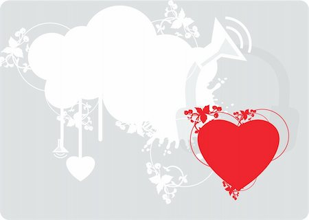 Background With Red Heart and with design elements Stock Photo - Budget Royalty-Free & Subscription, Code: 400-03931129