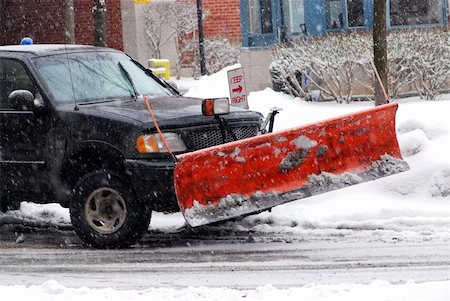 snow plow truck - Snow plow truck on a road during a snowstorm Stock Photo - Budget Royalty-Free & Subscription, Code: 400-03932608